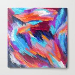 Bright Abstract Brushstrokes Metal Print