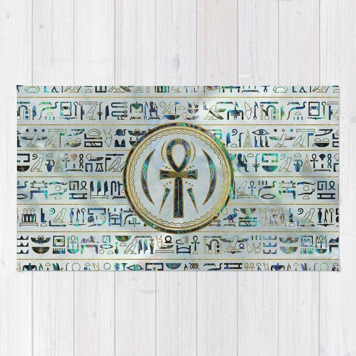 Abalone Shell Egyptian Ankh Cross symbol Rug