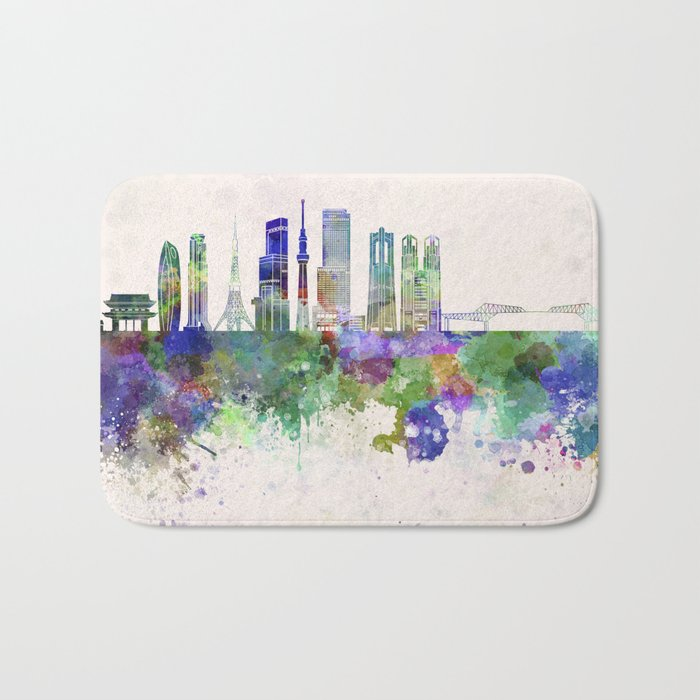 Tokyo V3 skyline in watercolor background Bath Mat