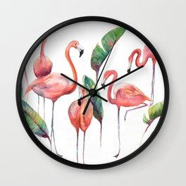 Pink Flamingos with some Strelizia Foliage Wall Clock