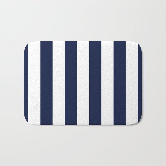 Indigo Navy Blue Stripes Vertical Bath Mat