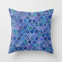 Sparkly Shades of Blue & Silver Glitter Mermaid Scales Throw Pillow