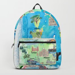 Italy Illustrated Travel Poster Favorite Map Tourist Highlights Backpack