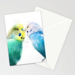 Watercolor Budgie Lovers Stationery Cards