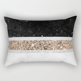 Black and White Marble Gold Glitter Stripe Glam #1 #minimal #decor #art #society6 Rectangular Pillow