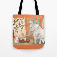 Tea with Elephant Tote Bag