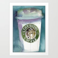 starbucks Art Prints featuring Starbucks by Dorrie Rifkin Watercolors