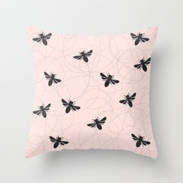 Bee Dance on Pink - Mix & Match With Simplicity of Life Throw Pillow