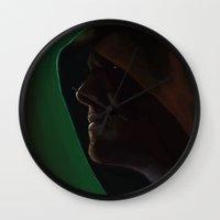 green arrow Wall Clocks featuring Arrow by Mel Hampson