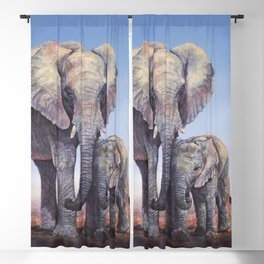 Elephants Mom Baby Blackout Curtain