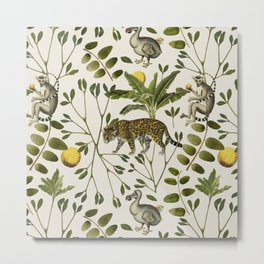 Lemurs Cream Metal Print