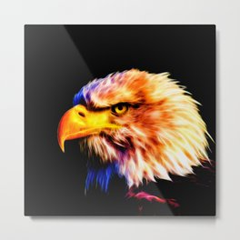 bald eagle 03 neon lines meteor Metal Print