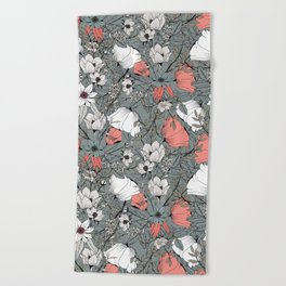 Seamless pattern design with hand drawn flowers and floral elements Beach Towel