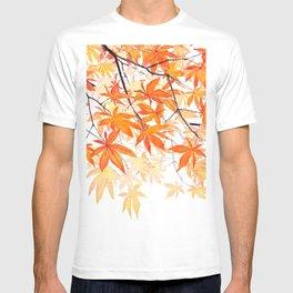 orange maple leaves watercolor T-shirt