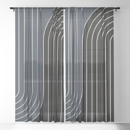 Two Tone Line Curvature XIV Sheer Curtain
