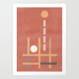 Falling and bouncing - geometrical terracotta design Art Print