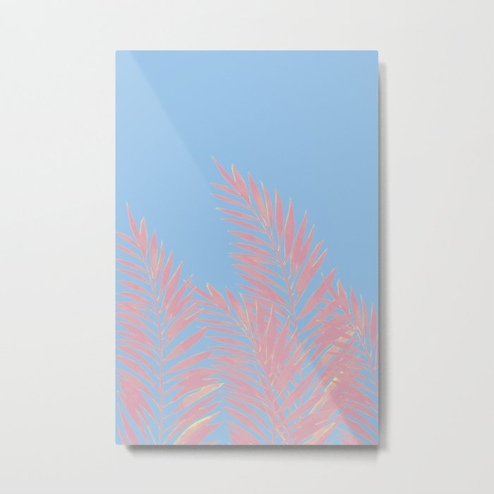 Palm Leaves Pink And Blue Metal Print