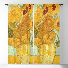 Vincent Van Gogh Sunflowers Vintage Painting Blackout Curtain