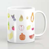 fruits Mugs featuring fruits by Ewa Pacia