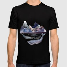 mountain and whales Mens Fitted Tee Black MEDIUM