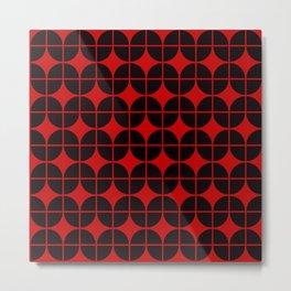 Optical Illusion Pattern Neon Red on Black Metal Print