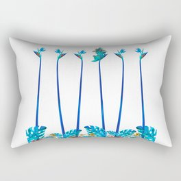 Cute Blue Dragon Tropical Floral Landscape Rectangular Pillow