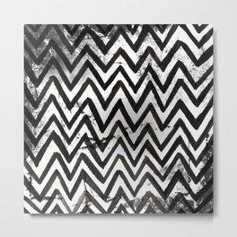 Black Chevron Stripes Boho Designs soutwestern goth Metal Print