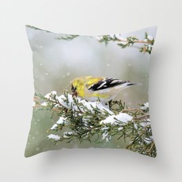 Spring Blizzard (American Goldfinch) Throw Pillow