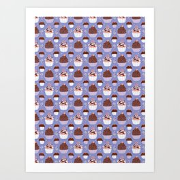 Baked Cupcakes Food Vector Pattern Art Print