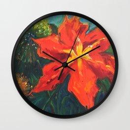 daylily and allium Wall Clock