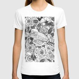 Zebra finch and rose bush ink drawing T-shirt