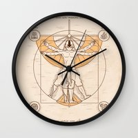 aang Wall Clocks featuring Vitruvian Aang by Fanboy30