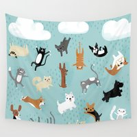 dogs Wall Tapestries featuring Raining Cats & Dogs by Anne Was Here