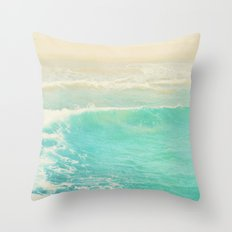 beach ocean wave. Surge. Hermosa Beach photograph Throw Pillow
