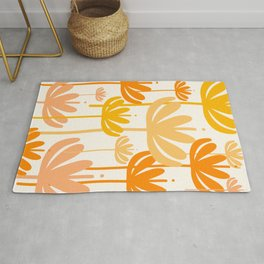 Bali Flowers Floral Pattern in Mustard Orange Cream Rug