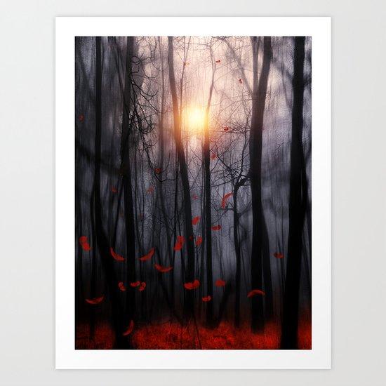 Red feather dance  -  by Viviana Gonzalez Art Print