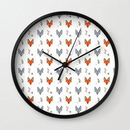 Cute Fox Pattern - White Wall Clock