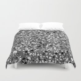 Dark Grey Monochrome Speckles Terrazzo Pattern Stone Effect Duvet Cover