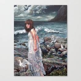 The Parting, Oil Painting Portrait of Woman on Rocky Beach with Seagulls During a Storm Canvas Print