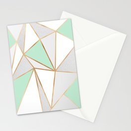 Mint Green, Grey & Gold Geo Stationery Cards