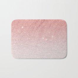 Elegant blush pink faux glitter ombre gradient pattern Bath Mat