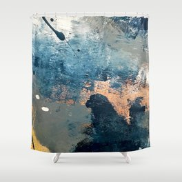 Wander [2]: a vibrant, colorful, abstract in blues, pink, white, and gold Shower Curtain