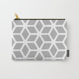 Geometric Line Lines Diamond Shape Tribal Ethnic Pattern Simple Simplistic Minimal Black and White Carry-All Pouch