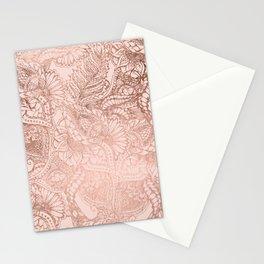 Modern rose gold floral illustration on blush pink Stationery Cards