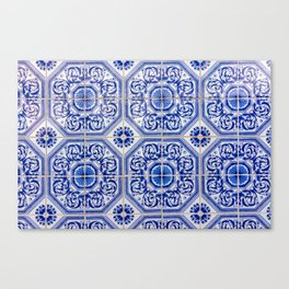 Close-up of blue and white ceramic wall tiles in Tavira, Portugal Canvas Print