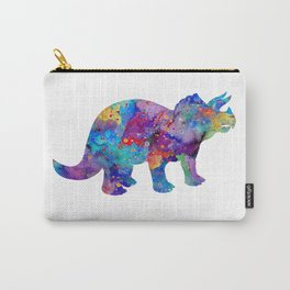 Dinosaur Triceratops Art Print Wild Animals Nursery Decor Kids Room Watercolor Pint Colorful Art Carry-All Pouch