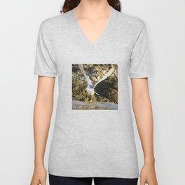 seagull flying Unisex V-Neck