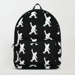 Bigfoot Sasquatch Peace Sign Silhouette Cartoon Backpack