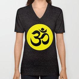 Black AUM / OM Reiki symbol on yellow background Unisex V-Neck