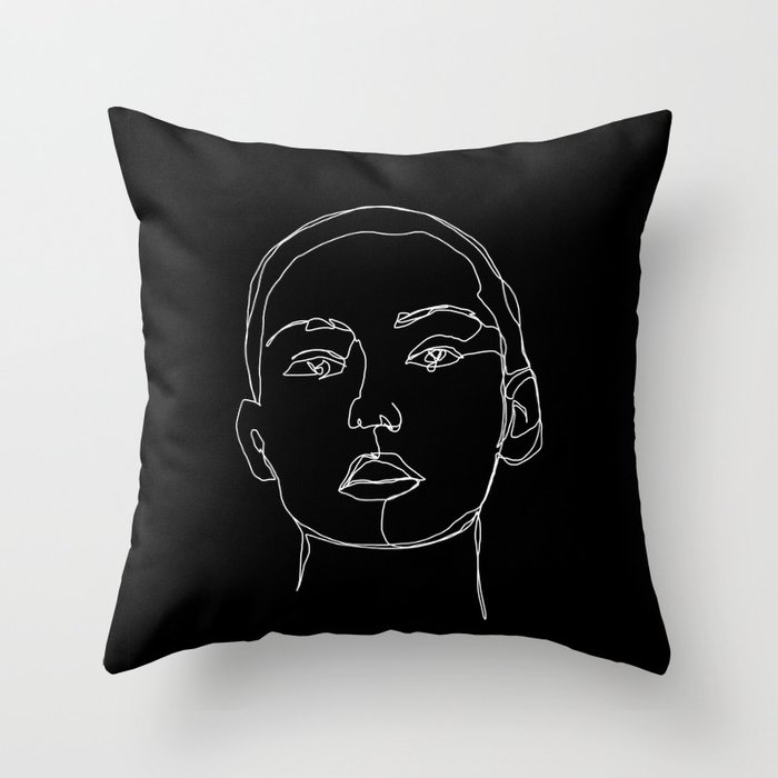 Face one line black and white illustration - Coco Throw Pillow